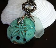 The Sand Dollar Beach Glass Charm Necklace by GlassSparrows