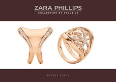 Welcome the new Rose Gold and White Diamond Edge Set Saddle Ring, and Rose Gold & White Diamond Filigree Saddle Ring. Unbridled Elegance for the modern woman, from the Zara Phillips Collection by Calleija.