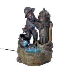 Fireman Indoor Outdoor Garden Water Fountain.  Free Shipping.