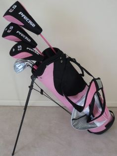 Ladies Complete Golf Club Set Right Handed Graphite Shafted Clubs Lady Driver, Fairway Wood, Hybrid, Irons, Putter & Womens Bag Pink Color Ladies Golf Clubs, New Golf Clubs, Golf Club Fitting, Golf Club Sets, Black Friday Golf, Crazy Golf, Golf Outfit, Golf Bags, Irons