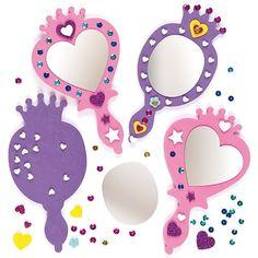 Spiegel-Sets aus Schaumstoff für kleine Prinzessinnen zum Selberbasteln und Spielen#2 verschiedene Designs#Jedes Set enthält: Schaumstoff-Sockel, Kunststoff-Spiegel, Dekoration, Pailletten, Anleitung#Größe: 19cm
