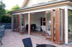 Foldedør – Udvendig facade foldedøre, træ, kvalitet, til terrasse, Jylland, gode priser, folde dør, farve efter ønske