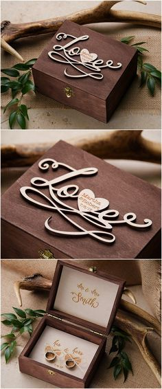Rustic country wedding ideas- rustic wooden wedding ring box @4LOVEPolkaDots
