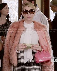 Chanel�s pink fur jacket, asymmetric houndstooth skirt and white blouse on Scream Queens.  Outfit Details: http://wornontv.net/51917/ #ScreamQueens