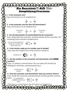 Simplifying fractions worksheet that gives students six strategies to use when simplifying fractions. Also comes in a interactive notebook template format.