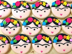 Frieda K cookies Cupcakes, Cupcake Cookies, Sugar Cookies, Mexican Birthday, Mexican Party, Frida Kahlo Party Decoration, Frida Kahlo Birthday, Mexican Cookies, Cute Cookies