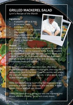 Lynn's Recipe: Grilled Mackerel Summer Salad from Kilkenny Shops Nassau Street Cafe! Mackerel Salad, Irish Pottery, Irish Art, Irish Recipes, Cafe Food, Mini Foods, Nassau, Summer Salads