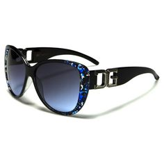 CG Womens Black and Blue Marble Pattern Cat Eye Plastic Sunglasses