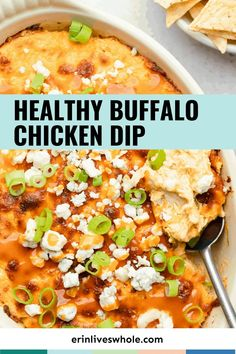 Spicy, creamy, and delicious healthier buffalo chicken dip made with lighter ingredients and will leave you feeling good after indulging in the best party appetizer! Made with lightened up dairy and buffalo sauce, this makes for the best healthy game day snack! #superbowl #superbowlfood #gamedayeats #healthysnacks #healthyappetizers Best Party Appetizers, Game Day Appetizers, Game Day Snacks, Healthy Appetizers, Healthy Snacks, Healthy Eating, Healthy Buffalo Chicken Dip, Chicken Dips, Lighter