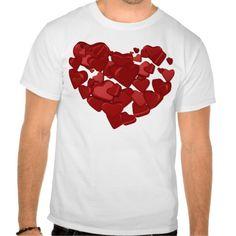 Raining Hearts Shirt #zazzle #tees #valentinesday #raining #hearts #red