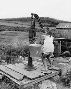 Small Girl Pumps Water From Well 1900s 8x10 Reprint Of Old Photo