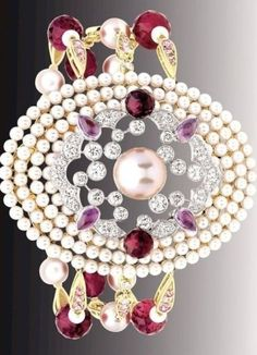 """Chanel Secret's D'Orient collection """"Byzance"""" bracelet in 18k pink gold, rebelites, pink sapphires and cultured pearls by Bella Donna"""