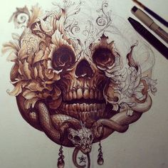 Awesome skull tattoo design. #tattoo #tattoos #ink