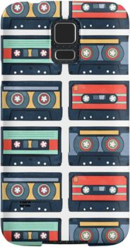 Cassette Tapes Pattern Samsung Galaxy Cases & Skins by AnMGoug on Redbubble. #phone #cassette #retro