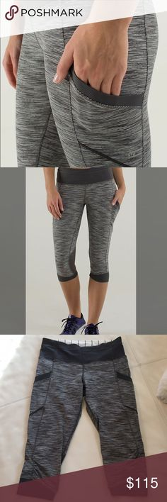 Lululemon Run For Fun Crops - Wee Are From Space Lululemon Run For Fun Crops - Color: Wee Are From Space Angel Wing / Soot Light; Size 6; MINT Condition!  Only worn ONE time!  This color release is extremely hard to find and sold out within minutes in stores and online! lululemon athletica Pants Capris