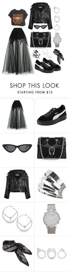 """PREPPY ROCK"" by mimiih ❤ liked on Polyvore featuring Elie Saab, Harley-Davidson, Puma, Le Specs, Gucci, Balenciaga, Topshop, MANIAMANIA, Larsson & Jennings and DKNY"