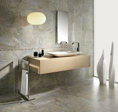 Designer Badezimmer in grau-braun