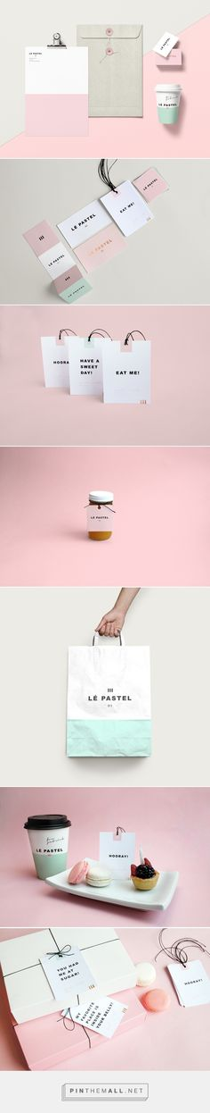 Lé Pastel on Behance curated by Packaging Diva PD. A high-end pastry shop with a variety of delicious desserts. Shop's new identity was designed with one objective, to express quality within the whole brand and each of its touch points. Font Design, Graphisches Design, Brand Identity Design, Graphic Design Branding, Brochure Design, Cover Design, Corporate Design, Corporate Identity, Business Branding