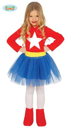 Guirca Super Heroine Costume for Girls Carnival Actionheldin Powerwoman Superhero Fancy Dress, Superhero Theme Party, Movie Costumes, Girl Costumes, Captain America Costume, Blue Tutu, Super Hero Costumes, Fashion Dresses, Party Fun