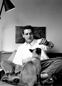 Paul Newman with cats