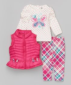 Look at this Fuchsia Rosette Puffer Vest Set - Infant & Toddler on #zulily today!