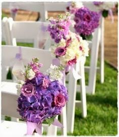 Love the colors! Purple Wedding Flowers, Floral Wedding, Wedding Bouquets, Wedding Chair Decorations, Wedding Chairs, Elegant Wedding, Dream Wedding, Purple Themes, Wedding Trends