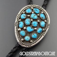 """NATIVE AMERICAN VINTAGE NAVAJO SIGNED FF STERLING SILVER TURQUOISE CLUSTER BOLO TIE BLACK CORD 34"""""""