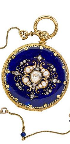 LEQUIN & YERSIN GEM-SET ENAMELED GOLD POCKET WATCH Four bodied 18k yg., royal blue enamel, set with rose cut diamonds and natural pearls, chased floral edges, crown and lug. Lace-like carved white enamel dial with applied gold laurel and scroll and Roman hours, sub seconds, three jeweled movement with wolf tooth gear, ca. 1880.