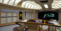 Presented below are some detailed photos of one of the two full scale Enterprise-D Bridge replicas from the Star Trek: The Experience attrac.