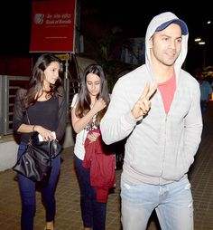 Varun Dhawan spotted with his girlfriend Natasha Dalal as the two caught a late night show of a Hollywood movie at a Juhu multiplex.