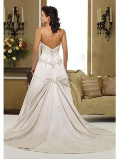 Vintage Strapless Beaded Bodice With Pleated Back Chapel Train Ivory Satin Wedding Dresses