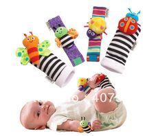 4 Styles! Lamaze Wrist rattle foot finder Baby toy foot Sock Infant Plush toys Dropship Free shipping 20PCS/LOT $17.08