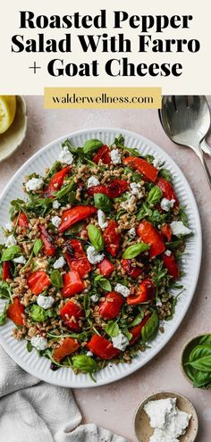 This easy roasted pepper salad recipe is made with farro, goat cheese, arugula, basil, and a simple white wine + lemon vinaigrette dressing. It can be enjoyed warm or cold, and served as either an entree style salad or as a side dish. Summer Salad Recipes, Healthy Salad Recipes, Summer Salads, How To Cook Farro, Lemon Vinaigrette Dressing, Large Salad Bowl, Roasted Peppers, Vegan Snacks