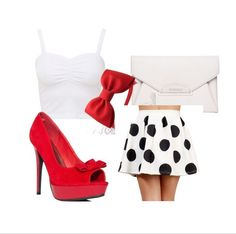 ~Ariana Grande Outfit Inspiration <3~ Top: White Ruched Front Bralet Crop Top £3 - newlook.com ($4.02) Skirt: (GAHHH couldn't find it :( ) Shoes: JustFab Latrice - Red $55 - heels.com Bag: GIVENCHY Antigona Envelope Clutch in Ivory $1,280 - forwardforward.com Headband: Red Bow Headband Snow White Costume Prop Pretend Play $16 - etsy.com
