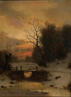 Winter landscape at dusk, EDUARD HEIN JR