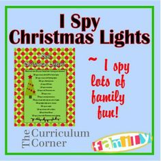 I Spy Christmas Lights - super cute idea for a family night looking at Christmas lights.
