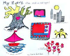 Niki de Saint Phalle - My love, where shall we meet again Jean Tinguely, We Meet Again, Tarot, Design Art, Contemporary Art, Saints, Kids Rugs, My Love, Drawings