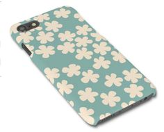 Teal/Turquoise Ditsy Flowers Illustrated iPhone 5/6/7 Samsung S3/S4/S5/S6 graphic glossy mobile phone case