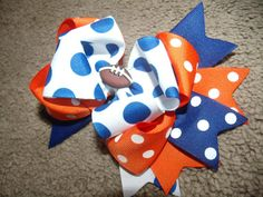 Items similar to Over The Top Hairbow.You Pick your Team.Layered Boutique Bow and Headband.Football bow Denver Broncos on Etsy Over The Top, Diy Bow, Boutique Bows, Cute Bows, Girls Bows, Denver Broncos, Girl Hairstyles, Hair Bows, Headbands