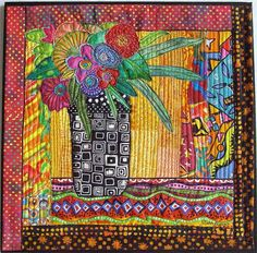 Floral Vase Art Quilt, colorful flowers, whimsical, quilted wall hanging