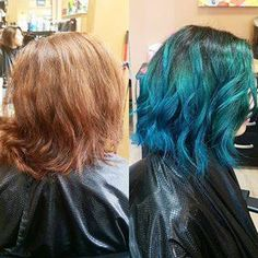Crazy colour Ombre- dropped root of a dark brown into a beautiful cobalt blue. textured ends created a messy layered bob.