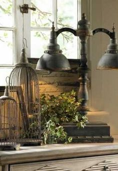Wire Cloches and Double Table Lamp