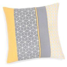 Cushion Inspiration, Grey Quilt, Grey Yellow, Designer Pillow, Home Deco, Decoration, Living Room Designs, Print Design, Weaving