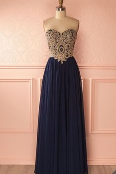 Navy Long Chiffon Prom Dress with Appliques