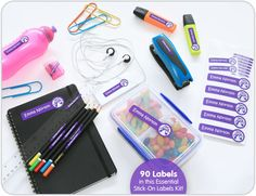 Buy a Essentials stick on labels kit to label your kids belongings. Lots of tiny, large and small labels for your kids belongings. Labels at great low prices.