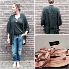 Outfit of the day! All by Closed... lovely green kimono | style | fashion | womenstyle | ootd | potd | sandals | jeans  www.ruysfashion.nl