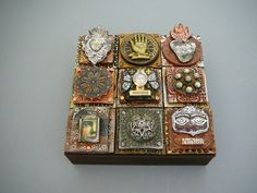 could embed milagros and other tin or metal abjects for pendants, mosaics, etc.    Laurie Mika, clay quilt series