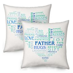Best Father Heart Shape Word Printed Cushion Pair 9152