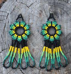 Peyote Stitch Green Yellow Glass Seed Beaded Earrings