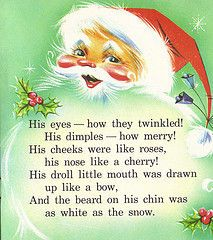 twinkling eyes, cherry nose, white beard